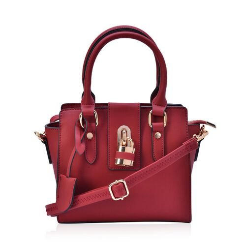 Christy Red Top Handle Bag with Adjustable and Removale Shoulder Strap (Size 22x19x8 Cm)