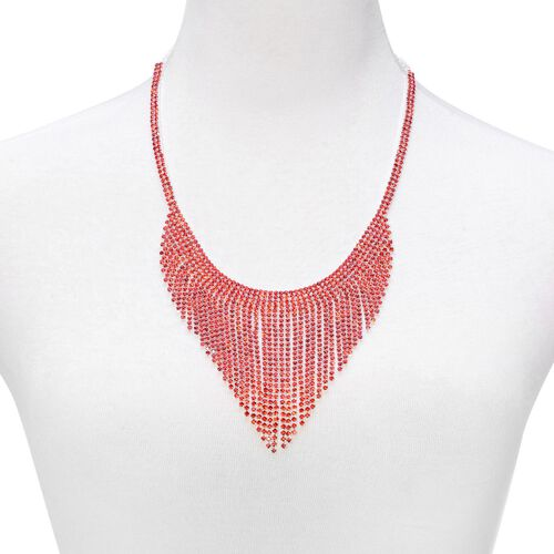 AAA Red Austrian Crystal Necklace (Size 22 with Extender) and Bracelet (Size 7.50) in Silver Tone
