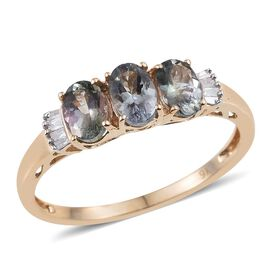 9K Y Gold AA Green Tanzanite (Ovl), Diamond Ring 1.500 Ct.