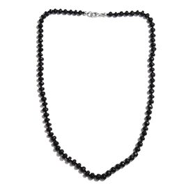 Boi Ploi Black Spinel  Beaded Necklace (Size 20) in Platinum Overlay Sterling Silver 122.650  Ct.