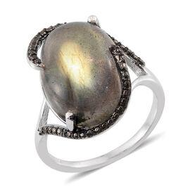 Labradorite (Ovl 10.75 Ct), Black Diamond Ring in Platinum Overlay Sterling Silver 10.760 Ct.