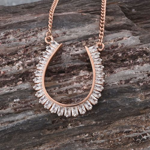 J Francis - Rose Gold Overlay Sterling Silver (Bgt) Horseshoe Pendant With Chain Made with SWAROVSKI ZIRCONIA