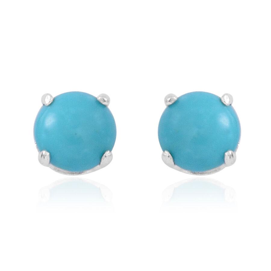 Rare Arizona Sleeping Beauty Turquoise (rnd) Stud Earrings In Sterling  Silver 0750 Ct