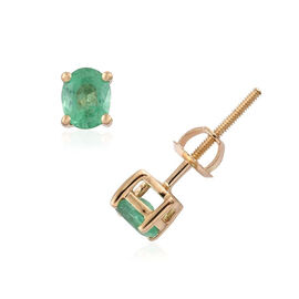 ILIANA 18K Yellow Gold 0.75 Carat AAA Boyaca Colombian Emerald Oval Stud Earrings with Screw Back