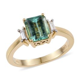 ILIANA 18K Yellow Gold Boyaca Colombian Emerald (Oct 1.75 Ct), Diamond (SI/G-H) Ring 1.900 Ct.