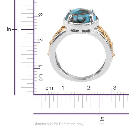 Blue Turquoise (Rnd) Solitaire Ring in Platinum and Yellow Gold Overlay Sterling Silver 3.500 Ct.