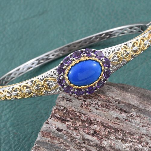 Ceruleite (Ovl), Uruguay Amethyst Bangle (Size 7.5) in Platinum and Yellow Gold Overlay Sterling Silver 3.800 Ct. Silver Wt 20.00 Gms