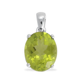 9K W Gold AAA Hebei Peridot (Ovl) Solitaire Pendant 4.000 Ct.