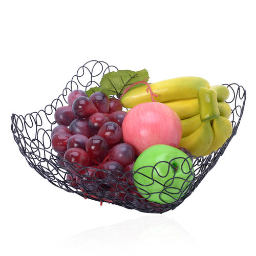Set of 2 - Designer Inspired Square Shape Hand Made Fruit Bowl of Wire (Size 24x11 Cm, 28x12 Cm)