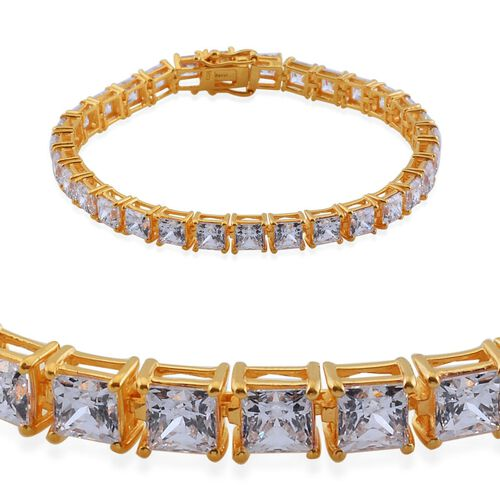 J Francis - 14K Gold Overlay Sterling Silver (Sqr) Bracelet Made with SWAROVSKI ZIRCONIA (Size 8) 22.010 Ct.
