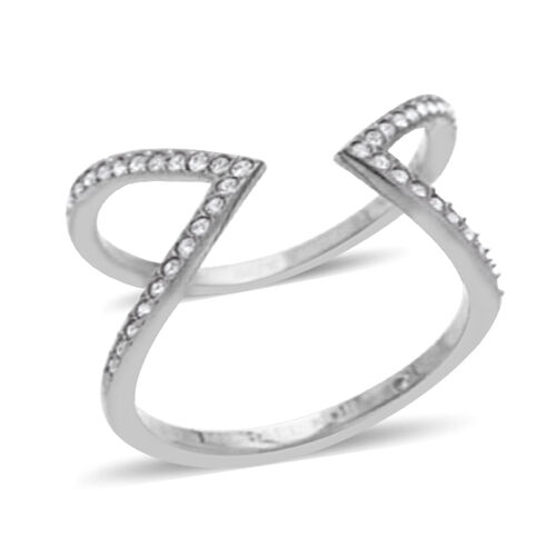 Diamond (Rnd) Love Interlocking Ring in Rhodium Plated Sterling Silver