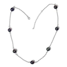 Tahitian Pearl Station Necklace (Size 18 with 2 inch Extender) in Platinum Overlay Sterling Silver