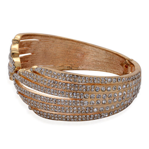 White Austrian Crystal Bangle (Size 7.5) in Gold Tone