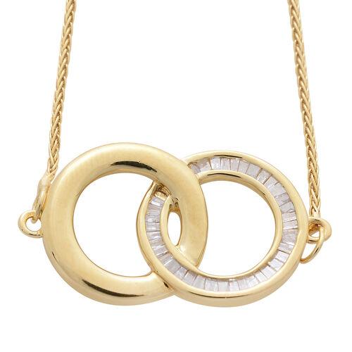 Diamond (Bgt) Adjustable Circle Link Bracelet (Size 6.5 to 7.5) in 14K Gold Overlay Sterling Silver 0.330 Ct.