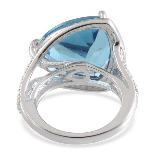 River Quartz (Trl 10.25 Ct), Diamond Ring in Platinum Overlay Sterling Silver 10.260 Ct.