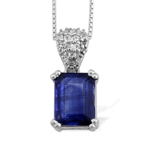 Himalayan Kyanite (2.65 Ct),White Topaz Platinum Overlay Sterling Silver Pendant With Chain  2.750  Ct.