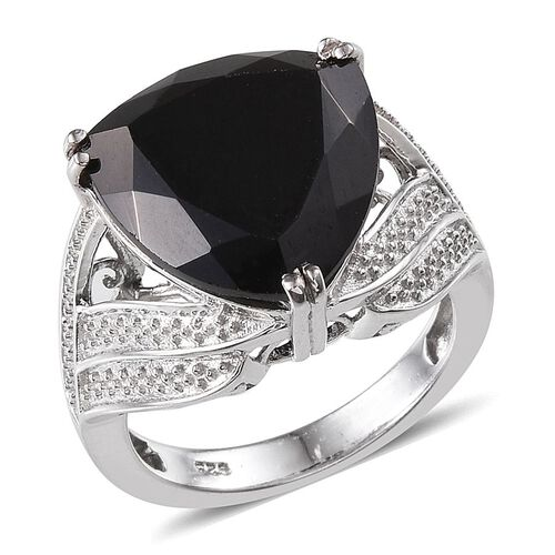 Boi Ploi Black Spinel (Trl) Ring in Platinum Overlay Sterling Silver 17.250 Ct.