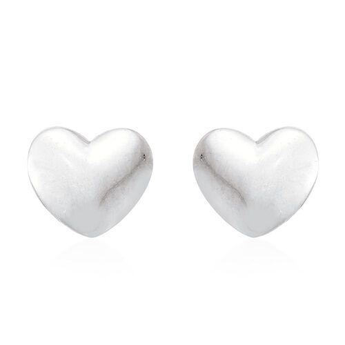 9K White Gold Plain Heart Stud Earrings