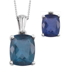 Colour Change Fluorite (Cush) Solitaire Pendant With Chain in Platinum Overlay Sterling Silver 3.500 Ct.