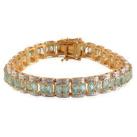 Paraibe Apatite (Ovl), Diamond Bracelet in 14K Gold Overlay Sterling Silver (Size 7) 14.020 Ct.