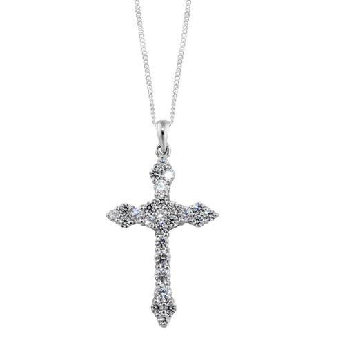 J Francis- Platinum Overlay Sterling Silver (Rnd) Cross Pendant with Chian Made with SWAROVSKI ZIRCONIA 1.040 Ct.