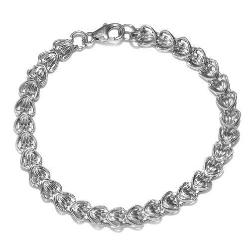 Platinum Overlay Sterling Silver Bracelet (Size 7.5), Silver wt 3.68 Gms.