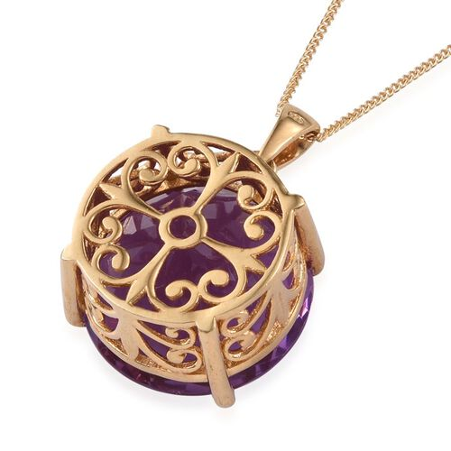 Lavender Alexite (Rnd) Pendant With Chain in 14K Gold Overlay Sterling Silver 19.500 Ct.