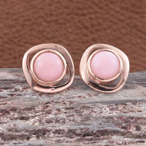 Natural Peruvian Pink Opal (Rnd) Stud Earrings (with Push Back) in Rose Gold Overlay Sterling Silver 3.000 Ct.