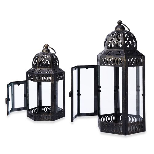Set of 2 - Black Colour Six Sided Dome Shaped Medium and Small Roof Lantern (Size 31x14.2x12 Cm, 21x11x9.5 Cm)