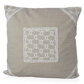 (Option 2) Beige Colour Net Patch Work Cushion (Size 43x43 Cm)
