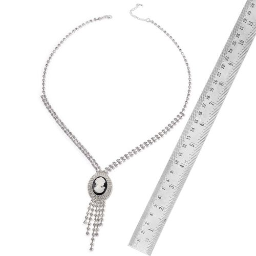 (Option 1) White Austrian Crystal Cameo Necklace (Size 24 with 2 inch Extender) in Silver Tone