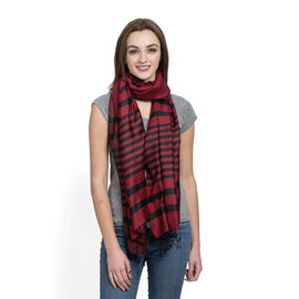 100% Silk Stripe Patten Red and Black Colour Scarf with Fringes (Size 200x70 Cm)