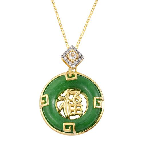 Chinese Green Jade (Rnd 12.75 Ct), White Topaz Chinese Character FU (Happiness) Pendant With Chain in Yellow Gold Overlay Sterling Silver 12.980 Ct.