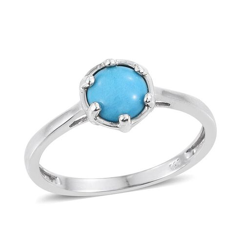 Arizona Sleeping Beauty Turquoise (Rnd) Solitaire Ring in Platinum Overlay Sterling Silver 1.250 Ct.