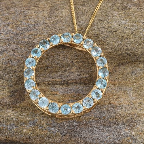 Natural Cambodian Blue Zircon (Rnd) Circle Pendant With Chain in 14K Gold Overlay Sterling Silver 3.500 Ct.