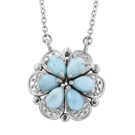 Larimar (Pear) Floral Necklace (Size 18) in SIlver Bond 2.750 Ct.