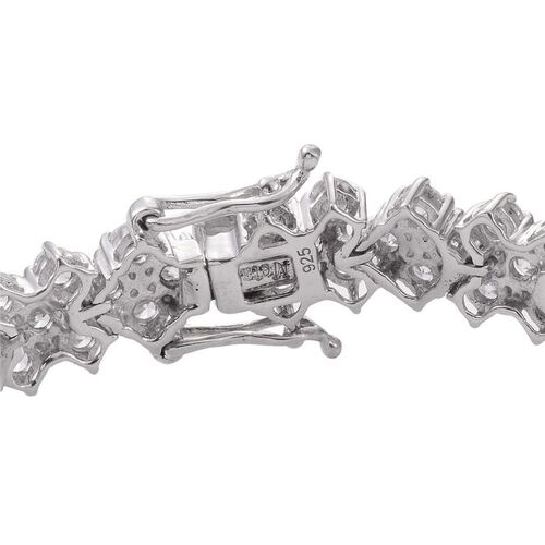Simulated Diamond (Rnd) Bracelet (Size 7.5) in Platinum Overlay Sterling Silver 19.000 Ct.
