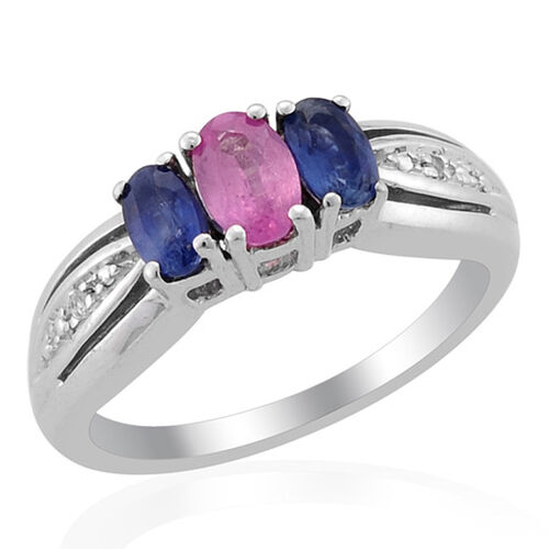 Fissure Filled Pink Sapphire (Ovl) Kanchanaburi Blue Sapphire White Topaz Ring in Sterling Silver  0.85 Ct.