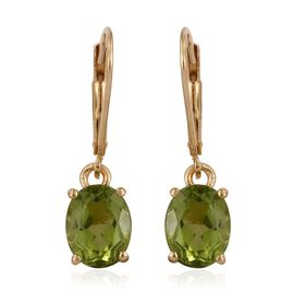 AA Hebei Peridot (Ovl) Lever Back Earrings in 14K Gold Overlay Sterling Silver 4.250 Ct.
