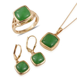 Green Jade (Cush) Ring, Pendant With Chain and Lever Back Earrings in 14K Gold Overlay Sterling Silver 23.500 Ct.