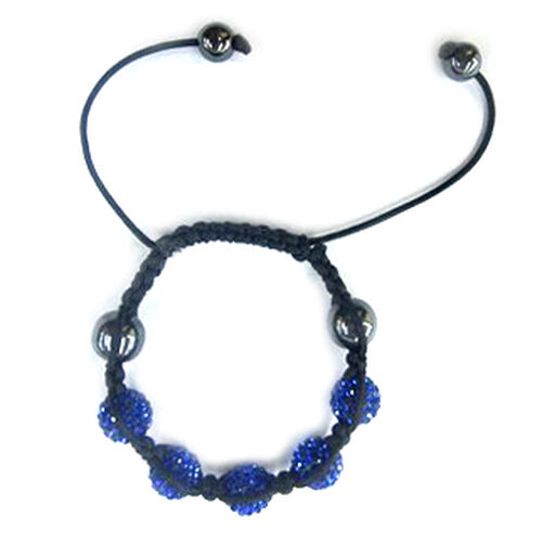 Shamballa Friendship Blue Austrian Crystal and Hematite Bracelet (Adjustable)