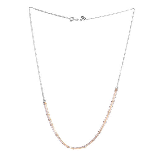 Yellow and Rose Gold Overlay Sterling Silver Adjustable 3 Strand Beads Necklace (Size 20)
