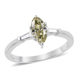 ILIANA 18K W Gold Canary Diamond (Mrq 0.60 Ct), White Diamond Ring 0.750 Ct.