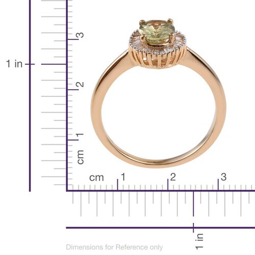 Natural Canary Apatite (Ovl 1.25 Ct), Diamond Ring in 14K Gold Overlay Sterling Silver 1.500 Ct.