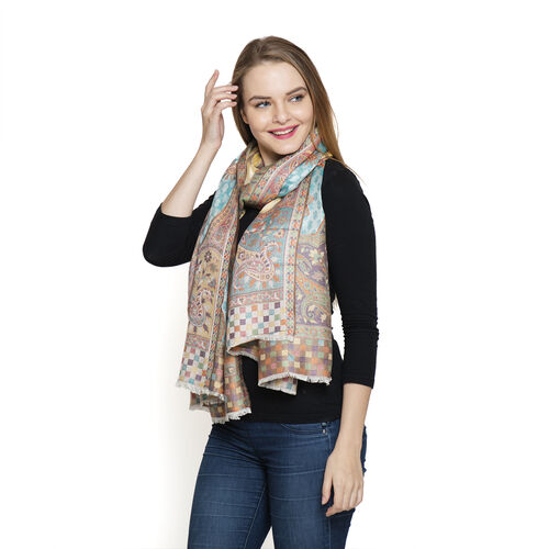 100% Modal Yellow, Green and Multi Colour Jacquard Scarf (Size 190x70 Cm)