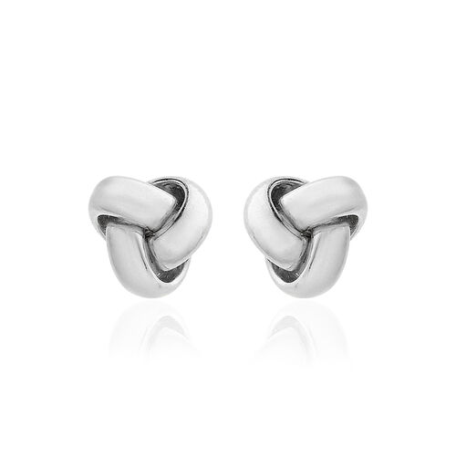 Close Out Deal 9K W Gold Triple Knot Stud Earrings (with Push Back)