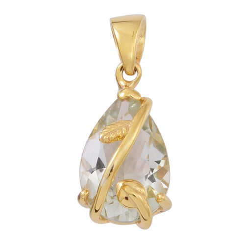 Green Amethyst (Pear) Solitaire Pendant in 14K Gold Overlay Sterling Silver 3.500 Ct.