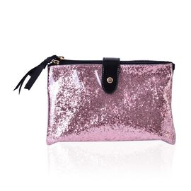 Pink Colour PVC Cosmetic Bag (Size 22x13x8 Cm)