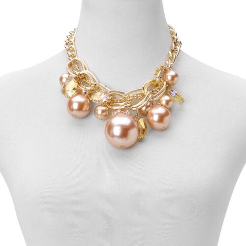 Simulated Rose Gold Pearl and Simulated Champagne Diamond Necklace (Size 18 with 3 inch Extender) and Hook Earrings in Yellow Gold Tone with Stainless Steel