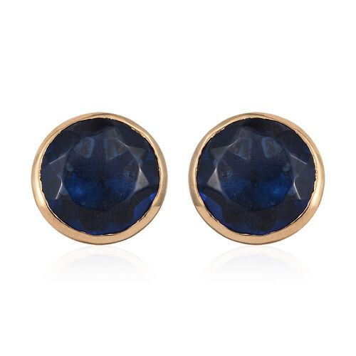 Ceylon Colour Quartz (Rnd) Stud Earrings (with Push Back) in 14K Gold Overlay Sterling Silver 8.000 Ct.